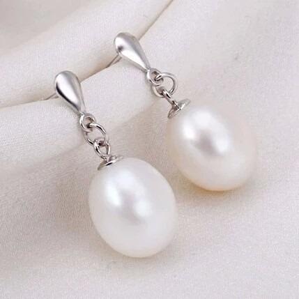 par aretes perlas naturales freshwater plata925 novia regalo