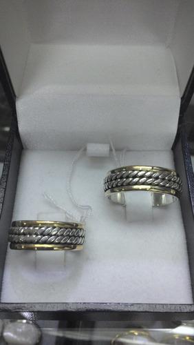 par argolla matrimonio ancha mod.3 plata c/oro 18 ktes au003