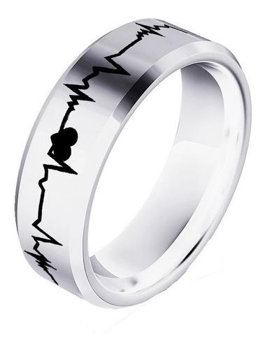par argollas electro cardio corazón boda medicina plata .925
