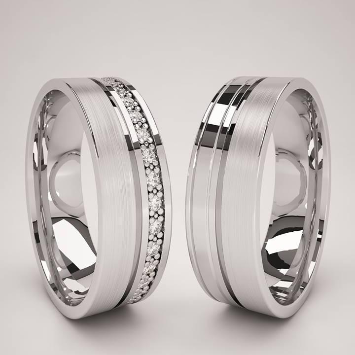 Par argollas oro blanco 14k anillos matrimonio zirconias for Argollas de plastico para cortinas