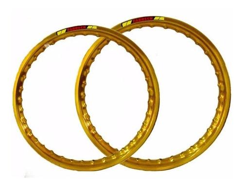 par aro aluminio dourado roda moto titan 125/150 fan125/150