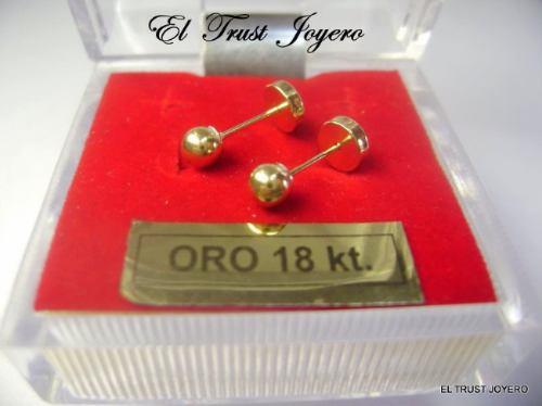 par aros abridores oro 18k bolita nº 3 (3mm.) el trust joyero garantía escrita ideal recien nacidos bebes estuche regalo