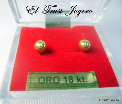 par aros abridores oro 18k bolita nº 4 (4mm.) el trust joyero garantía escrita ideal bebes niñas mujer estuche regalo