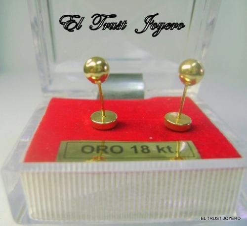 par aros abridores oro 18k bolita nº 6 (6mm.) el trust joyero garantía escrita ideal bebes niña mujer estuche regalo