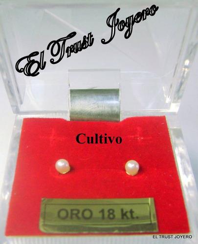 par aros abridores perlas cultivo 3.5 mm oro 18k. ideal bebe, niñas, adultos. garantia por vida