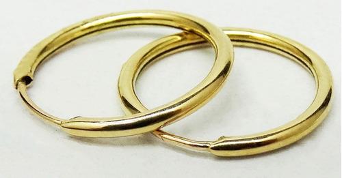 par aros cubanos 10 mm. oro 18 k. garantia escrita  estuche