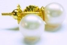 par aros dama perla cultivo 7 mm oro 18k con tuerca garantia