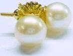 par aros dama perlas españolas 7 mm oro 18k. estuche presentacion. garantia 10 años.