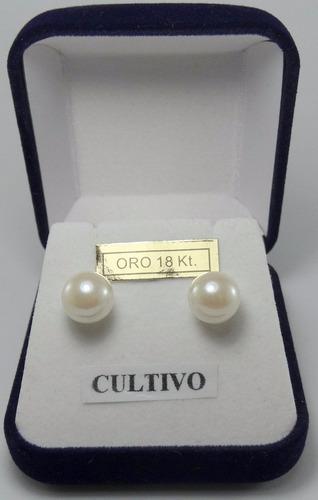 par aros dama perlas españolas 9 mm oro 18k. estuche presentación. garantía por vida