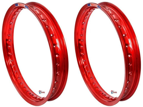 par aros moto alumínio vermelho vitral titan fan 150/125