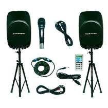 par bafles audiobahn 3500w con tripies y micrófono bocina 15