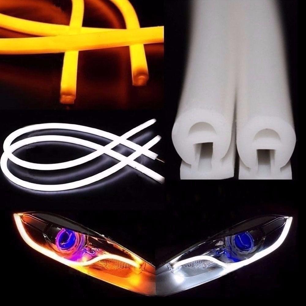 Salones Con Aparador Y Vitrina ~ Par Barra 60cm Led Flexível Lanterna+ Seta Drl Carro Moto R$ 124,99 em Mercado Livre