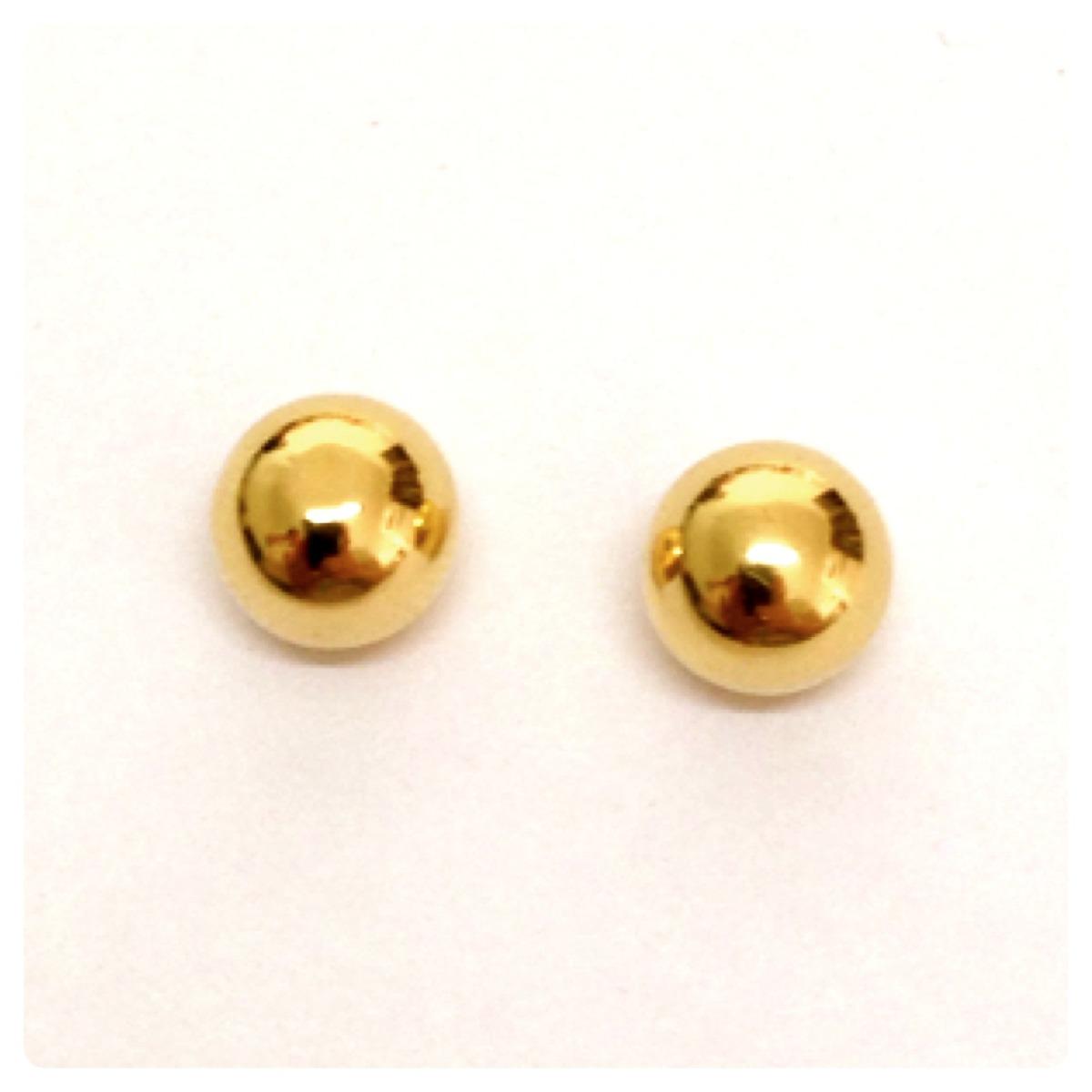 ced7a3df98c6d par brincos de bola grande de 7 mm joia de ouro amarelo 18k. Carregando  zoom.