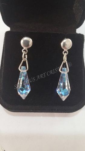 par brincos gota cristal swarovski blue boreal em prata 925