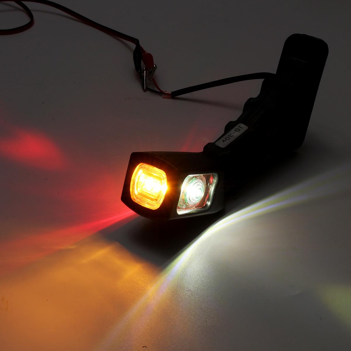 Par De Remolque LED Luces de posición delanteras Lámparas Blanco Con Base De Goma 12V 24V
