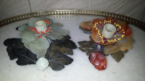 par candeleros orientales piedras duras agata jade y coral