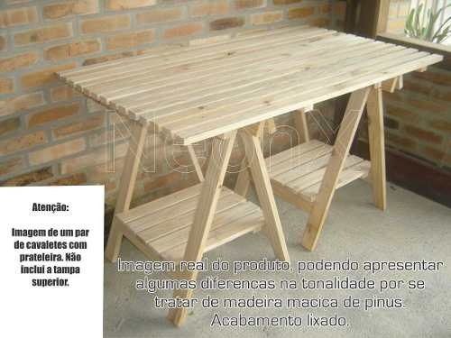 par cavalete c/prateleira madeira 75x80cm pinus jardim mesa