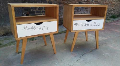 par d buro mesa de luz escandinava vintage barnizado/cajón