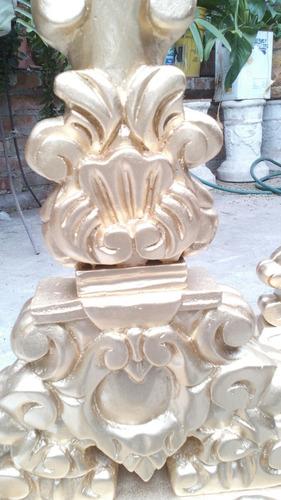 par dcandelabro de madera para vela,tallado y pintado a mano