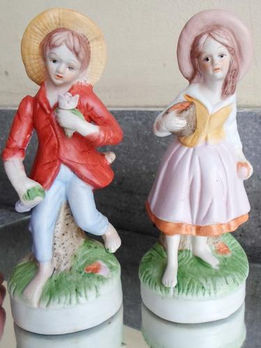par de 2 dos figuras de cerámica policromadas valor x las 2