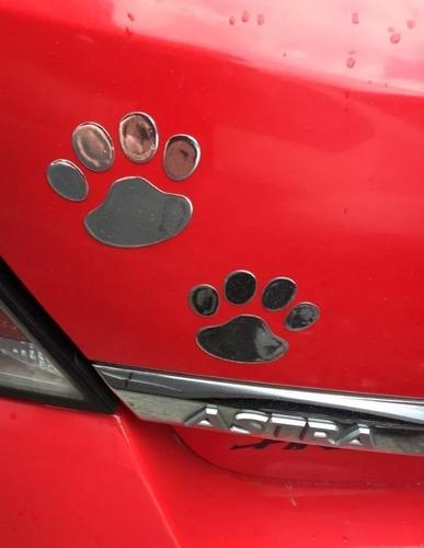 par de adesivo patinhas 3d cromado patas cão dog gato urso
