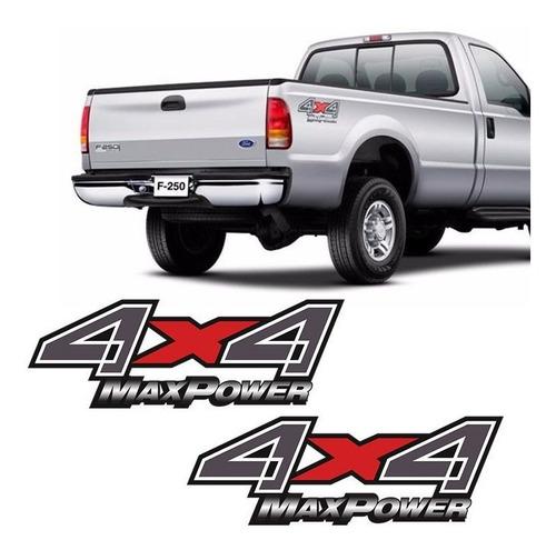 par de adesivos 4x4 max power ford f-250 emblema lateral
