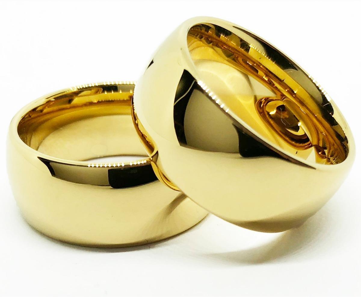c548f014f57 par de aliança 10mm tungstênio folheada a ouro 18k casamento. Carregando  zoom.