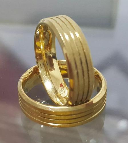 par de aliança 6mm folheada ouro 18k com garantia-promoção