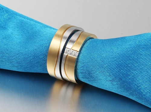 par de aliança aço inox 8mm banhada a ouro infinity