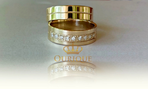 par de aliança com diamantes de ouro 18k 750 grossa promoção