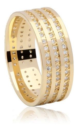 par de aliança de luxo em ouro 18k com diamantes belíssima