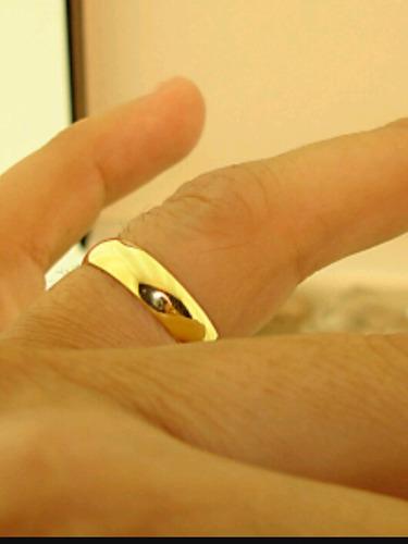 par de aliança de ouro 5mm lindo modelo tradicional