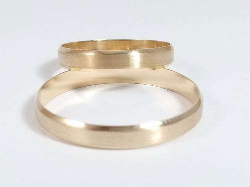 par de aliança em ouro 18k 750 com 3mm  3grs reta chanfrada