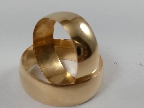 par de aliança em ouro 18k 750 com 7mm 9grs boleada polida