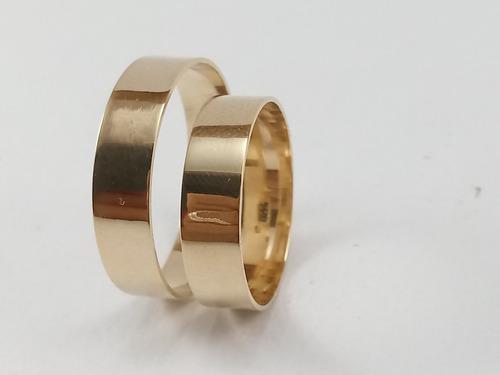 par de aliança em ouro 18k com 5mm 5grs reta