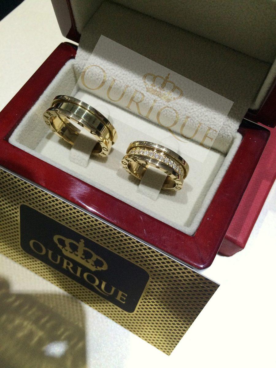 f9168d216e4 Par De Aliança Em Ouro 18k Modelo 3d Com Diamantes Luxo - R  6.999 ...