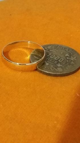 par de aliança moeda antiga 5m modelo reta + caixinha linda!