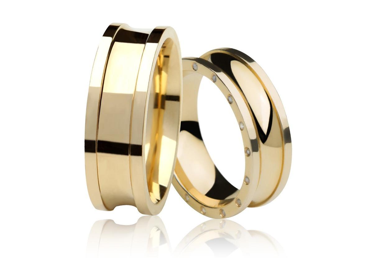 54fd1c34e87 Par De Aliança My Beloved Em Ouro 18k - R  4.449