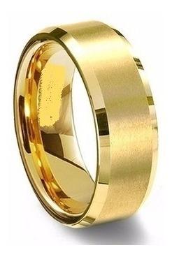 par de aliança ouro banhada tungstênio chanfrada 8mm ref: a8