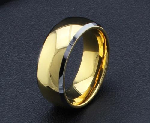 par de aliança tradicional de tungstênio 8mm folheada a ouro