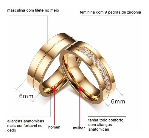 par de alianças 3 banhos casamento banhadas+anel solitario