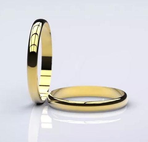 par de alianças 3mm tradicional 2g ouro 18k 750