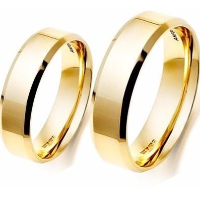 par de alianças 5mm 8 gramas anatômicas ouro 18k casamento