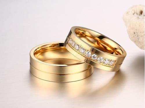 par de alianças 6mm titânio banhado a ouro 18k com brilhante