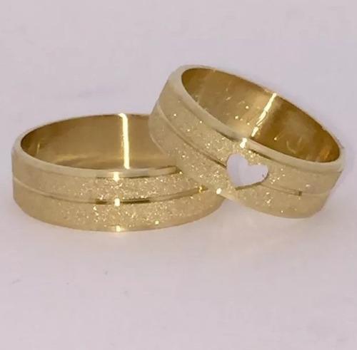 par de alianças 7 grs 5,5 mm ouro 18k coração vazado