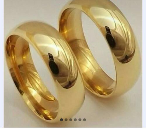 par de aliancas 7mm em tungstenio folheado a ouro,grossa