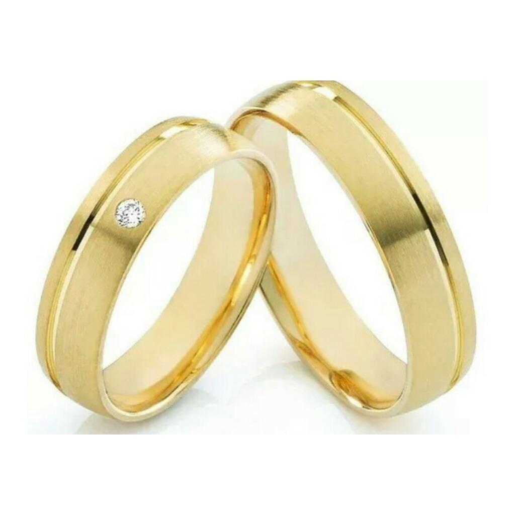 1ac6fe68c2f Par De Alianças Casamento Em Ouro 16k Linha Vegas Promoção - R  760 ...