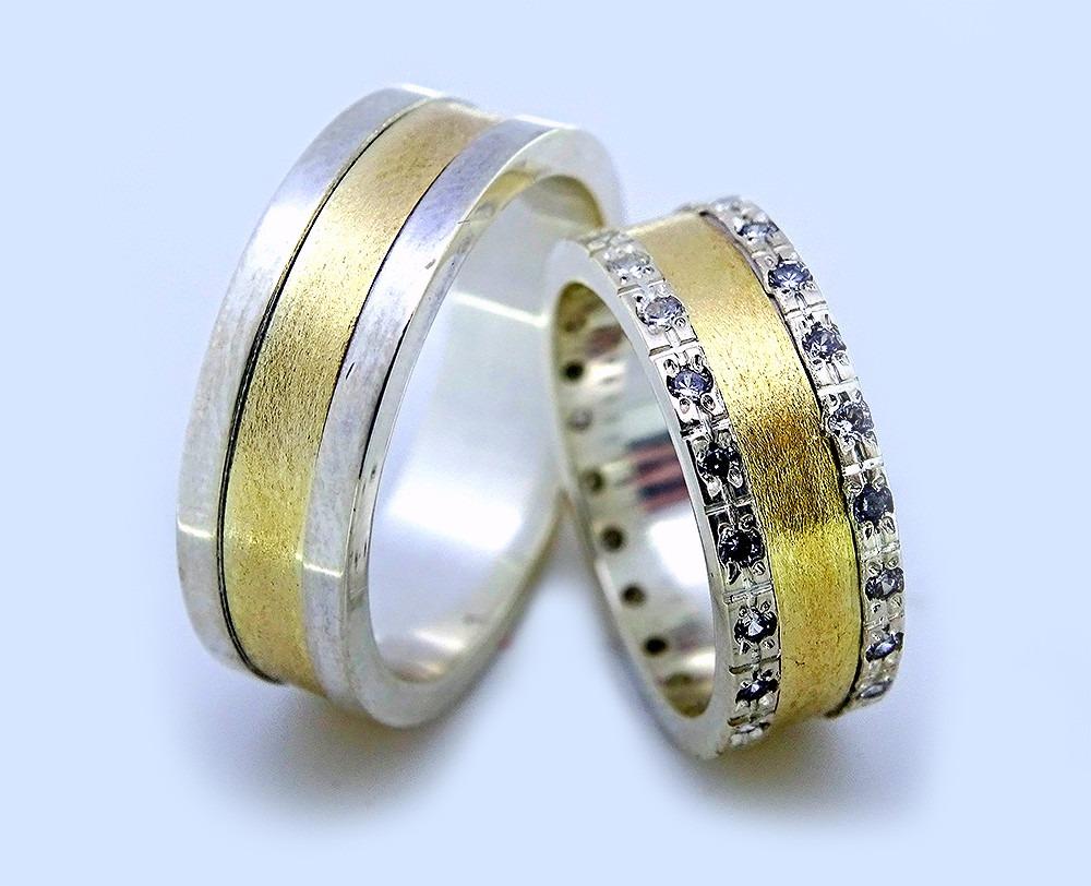 98b3eda23f Par De Alianças Casamento Ou Noivado (ouro Com Prata) - R$ 610,80 em ...