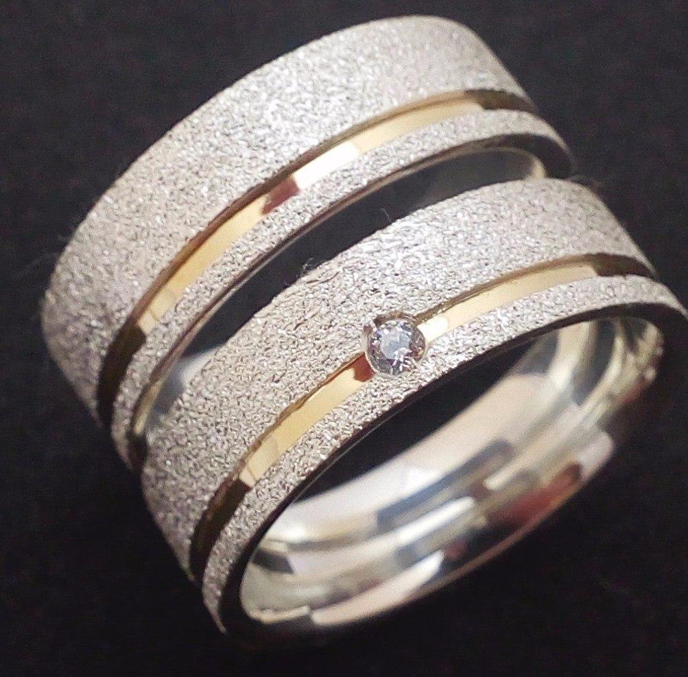 e8025d19c37 Par De Alianças Compromisso Prata 950 E Ouro 18k. Diamantada - R ...
