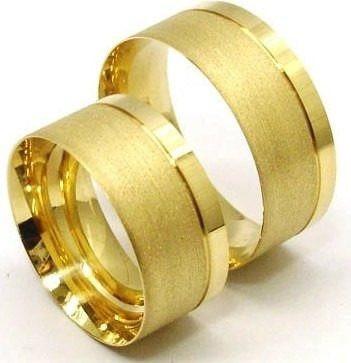 par de alianças cor de ouro 8mm, feitas de moedas antigas